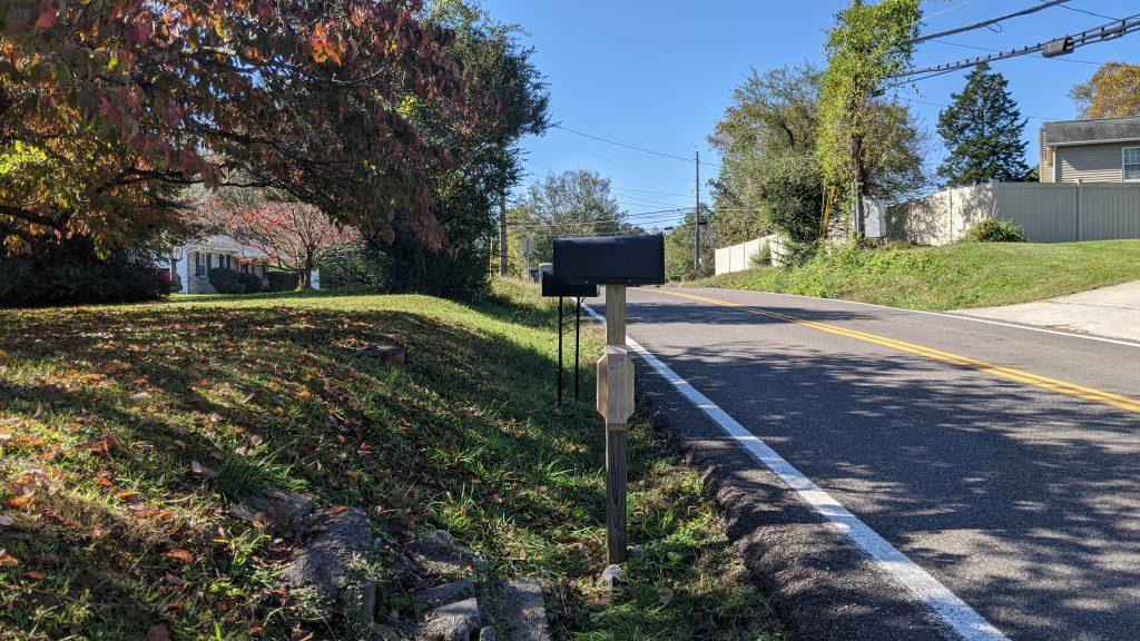 repaired mailbox post